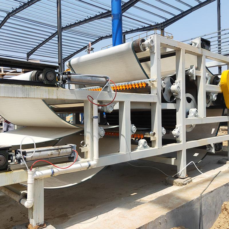 河北省河北沧州河卵石制沙污泥脱水带式压滤机生产线